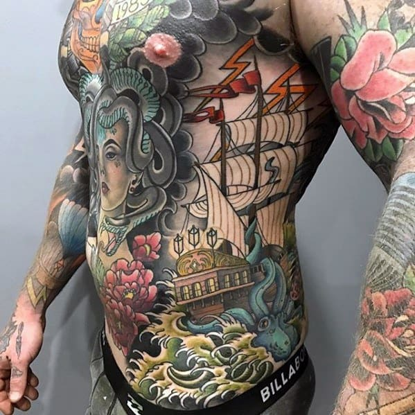 Creative Full Chest And Rib Cage Side Thunderstorm Tattoos For Men