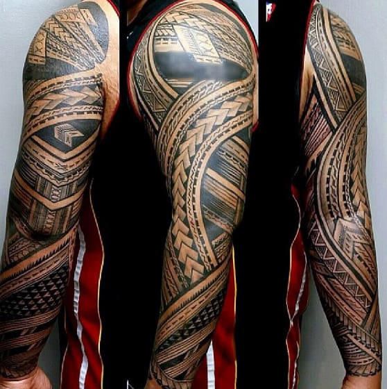 Creative Full Sleeve Tattoo With Samoan Tribal Design On Male