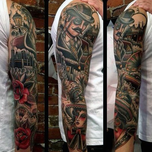 Creative Gentlemens Traditional Sleeve Tattoo Inspiration