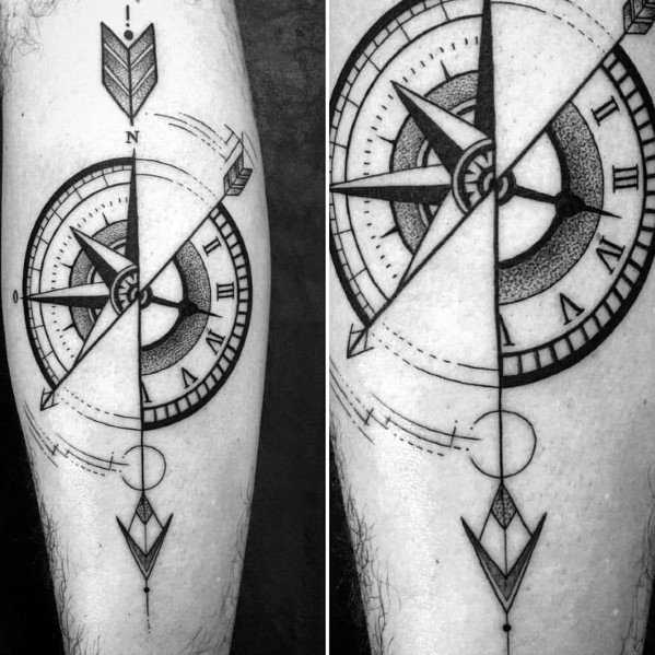 Creative Geometric Compass Tattoos For Men