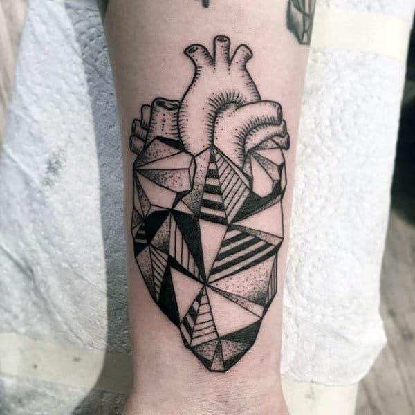 Creative Geometric Heart Guys Wrist Tattoo Ideas