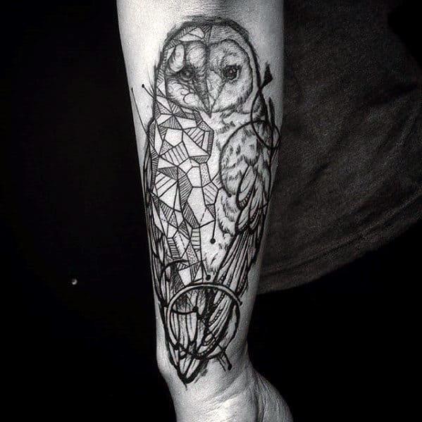 Creative Geometric Owl Guys Outer Forearm Tattoos