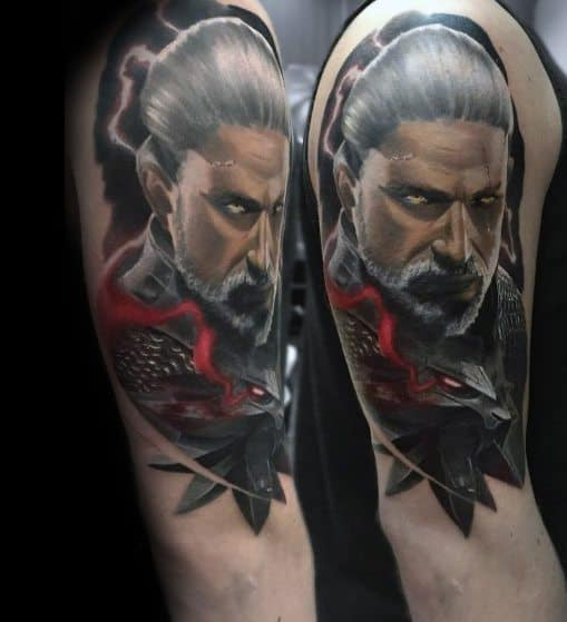 Creative Geralt 3d Realistic Tattoos For Guys