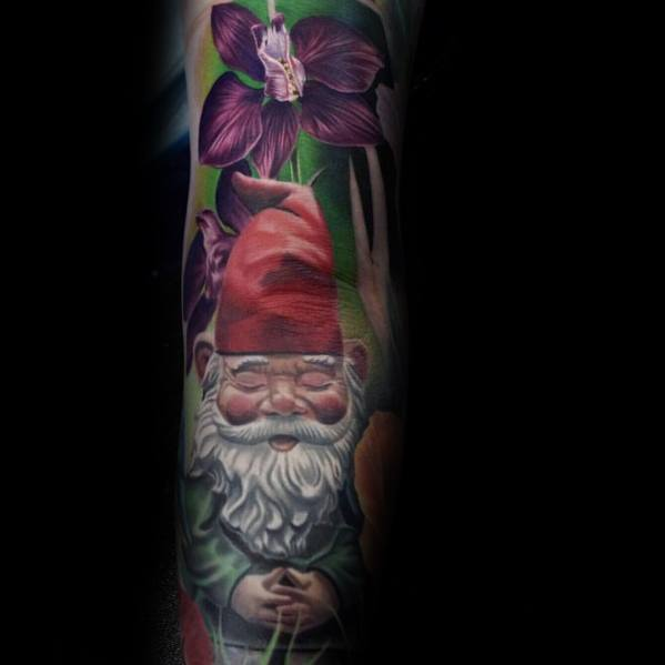 Creative Gnome Tattoos For Guys With 3d Design
