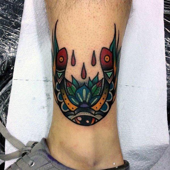 Creative Good Luck Lower Leg Horseshoe Tattoos For Men