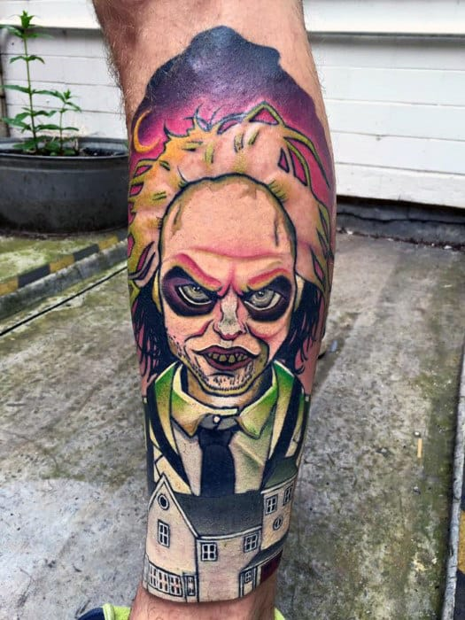 Creative Guys Beetlejuice Leg Sleeve Tattoos