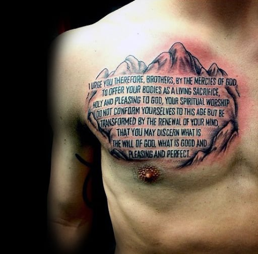 Creative Guys Bible Verse Tattoo Designs On Chest With Mountains