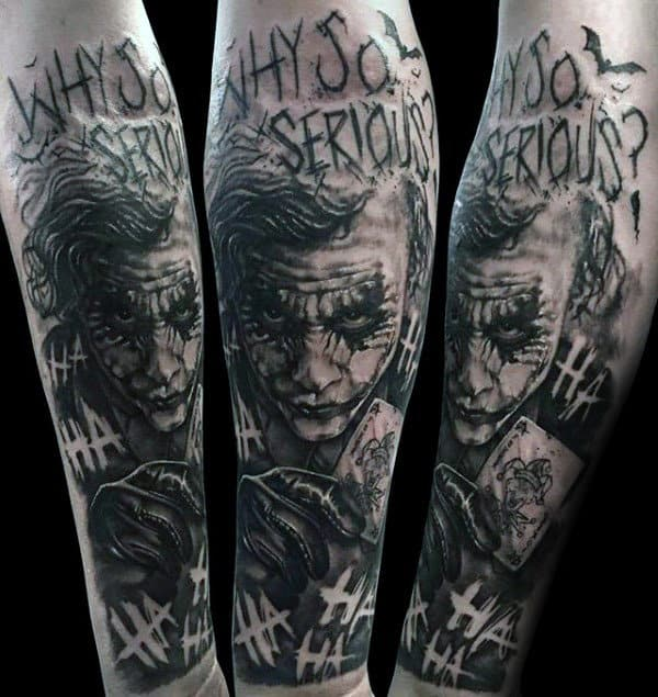 Creative Guys Black And Grey Ink Joker Forearm Sleeve Tattoos