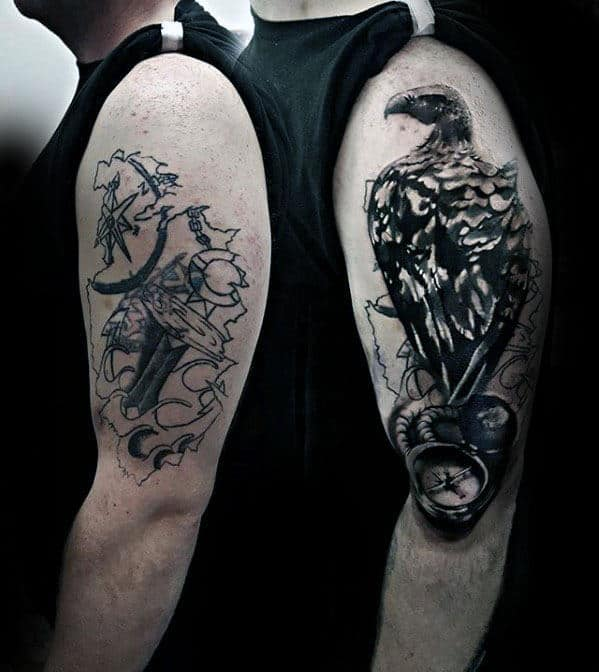 Creative Guys Compass With Watercolor Vulture Arm Tattoo