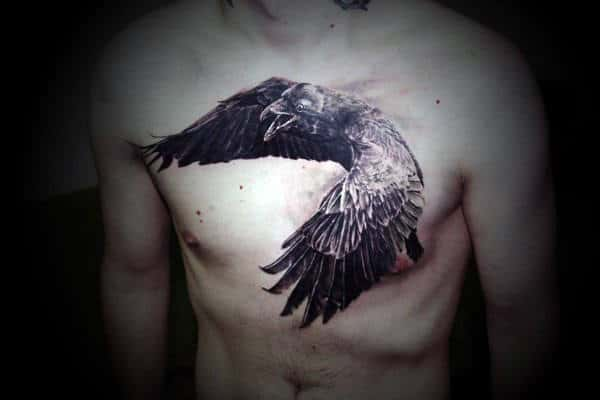 Creative Guys Crow Chest Tattoo Ideas