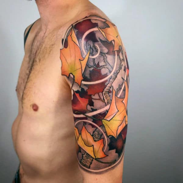 Creative Guys Fall Themed Half Sleeve Tattoos