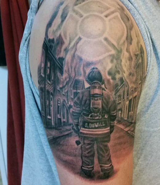 Creative Guy's Fireman Firefighter Tattoos Designs On Arm