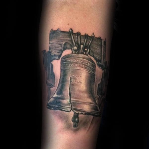 Creative Guys Forearm Realistic Liberty Bell Tattoos