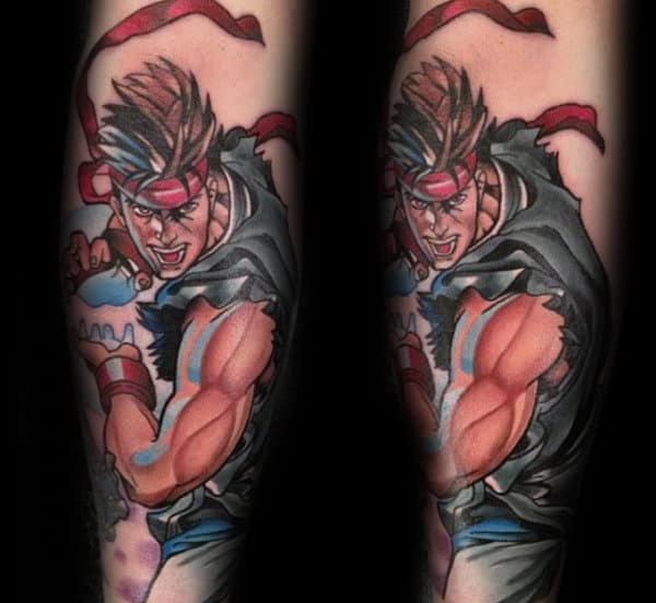 Creative Guys Forearm Street Fighter Tattoo Design