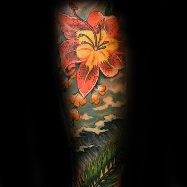 Creative Guys Hibiscus Sleeve Tattoo Designs