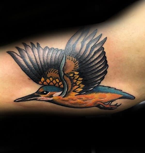 Creative Guys Inner Arm Bicep Traditional Bird Tattoo
