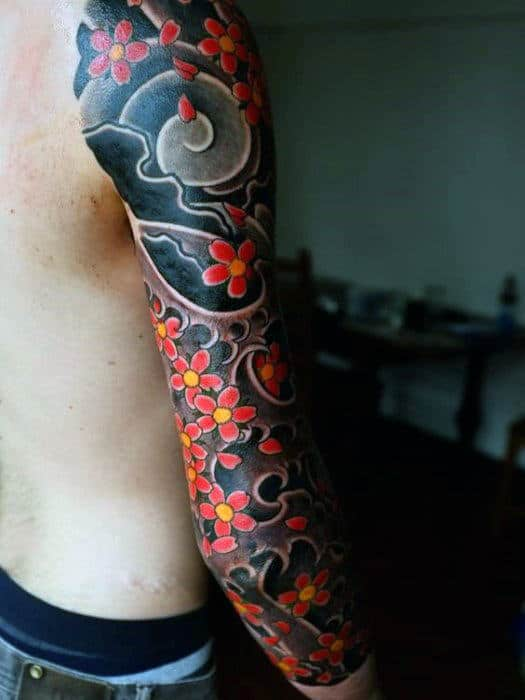Creative Guys Japanese Flower Cherry Blossom Full Arm Tattoos