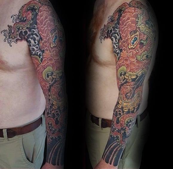 Creative Guys Japanese Octopus Full Sleeve Tattoo Inspiration