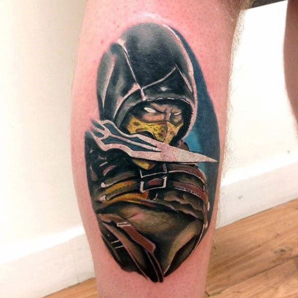 Creative Guys Mortal Kombat Leg Calf Tattoos
