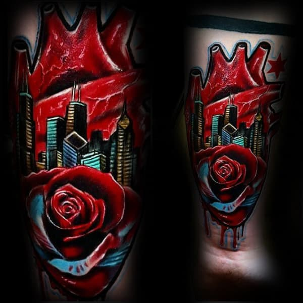 Creative Guys Rose Flower Heart Chicago Flag With Skyline Tattoo