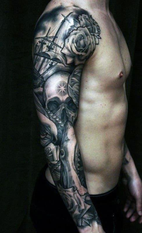 creative-guys-skull-tattoos-sleeves-ideas-with-sailing-ship-and-rose-flowers