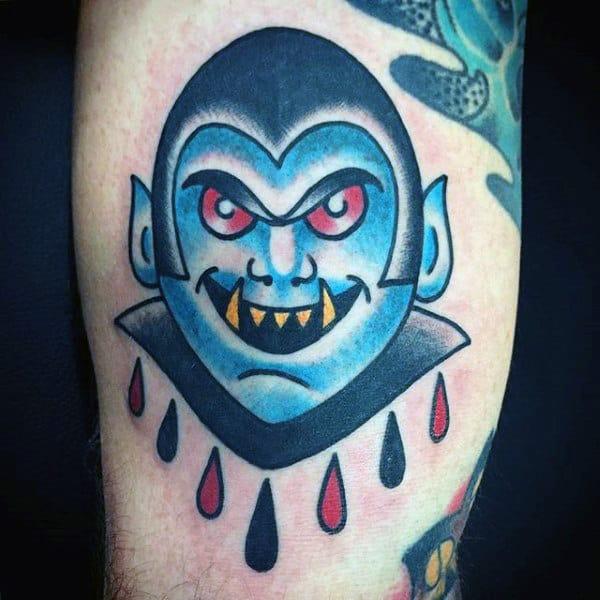 Creative Guys Vampire Symbols Tattoos On Bicep