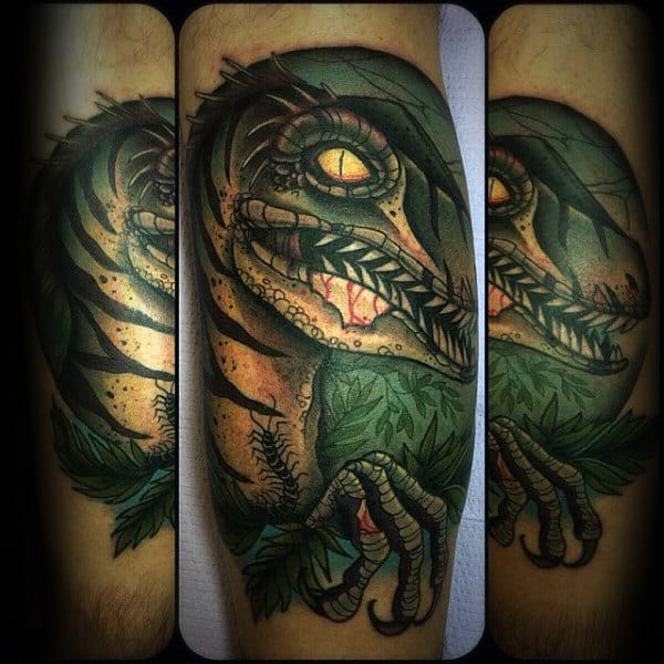 Creative Guys Velociraptor Tattoo Design On Leg Calf