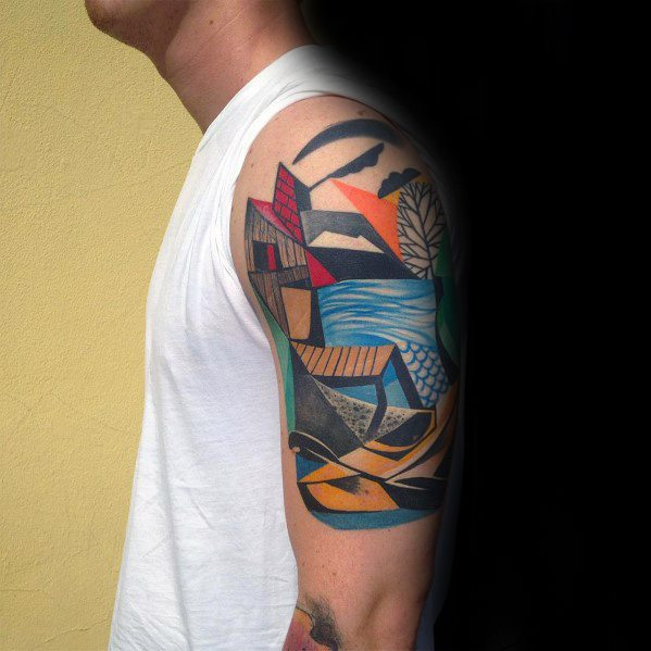 Creative Half Sleeve Cubism Tattoos For Men