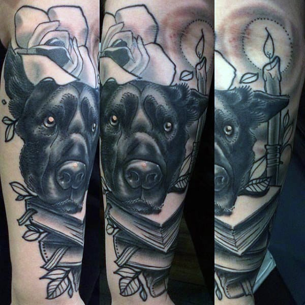 Creative Half Sleeve Dog With Books And Rose Flower Mens Tattoo