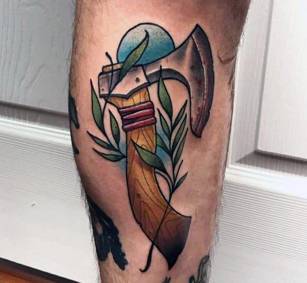 Creative Hatchet Tattoos For Guys