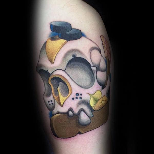 Creative Hockey Skull Guys Arm Tattoo Design Ideas
