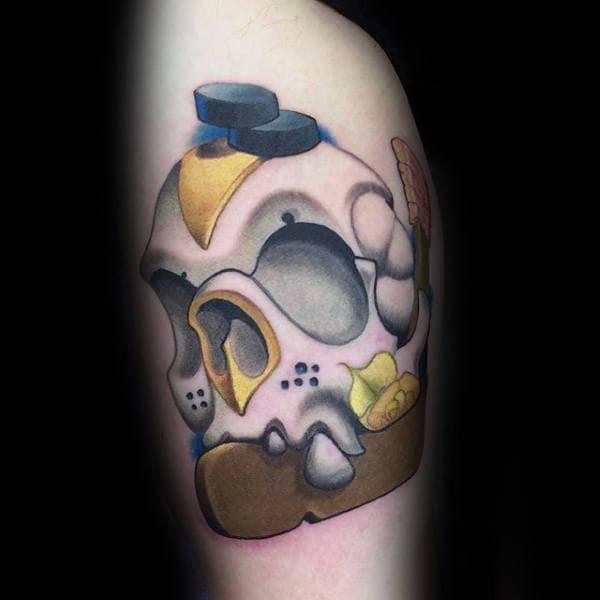 Creative Hockey Skull Guys Arm Tattoo Design Ideas