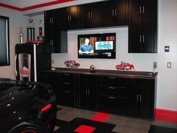 Creative Home Garage Storage Solution With Black Cabinets