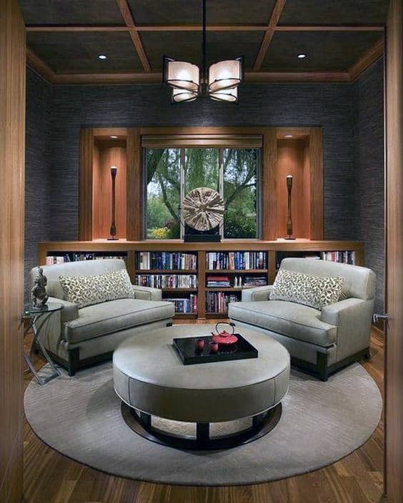 Creative Home Library Nook With Two Lounge Chairs In Room