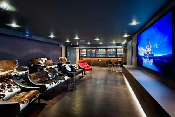 creative home theater room with full wet bar in basement. Interior Design Ideas. Home Design Ideas