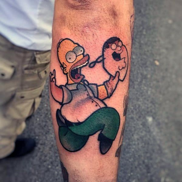 Creative Homer Simpson Running With Family Guy Mask Outer Forearm Tattoos For Men