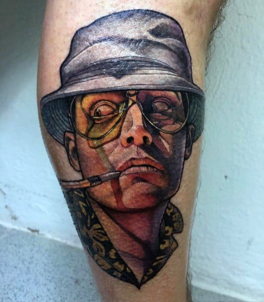 Creative Hunter S Thompson Tattoos For Guys On Leg