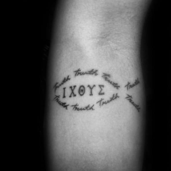 Creative Ichthus Tattoos For Men On Inner Forearm