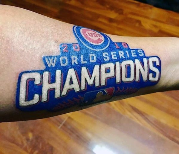 Creative Inner Forearm 2016 World Champions Chicago Cubs Tattoos For Men