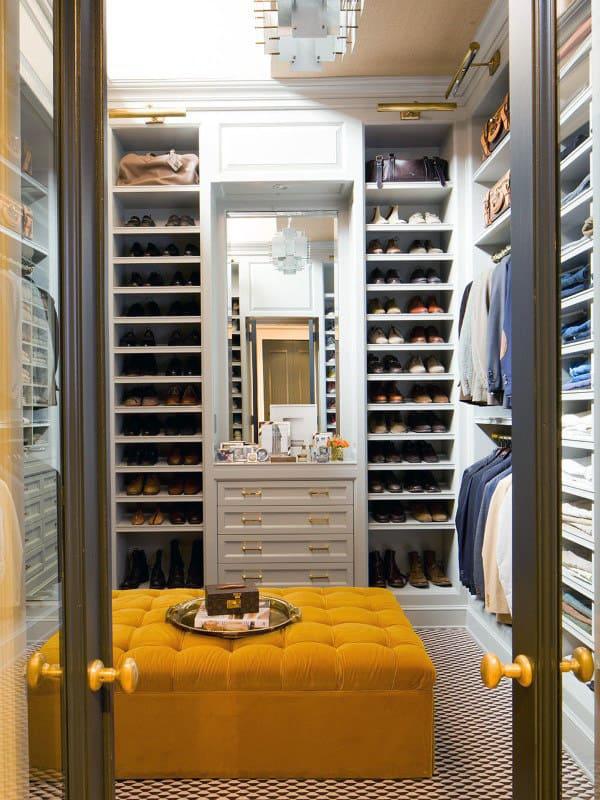 Creative Interior Design Mens White Cabinet Walk In Closet With Orange Seating