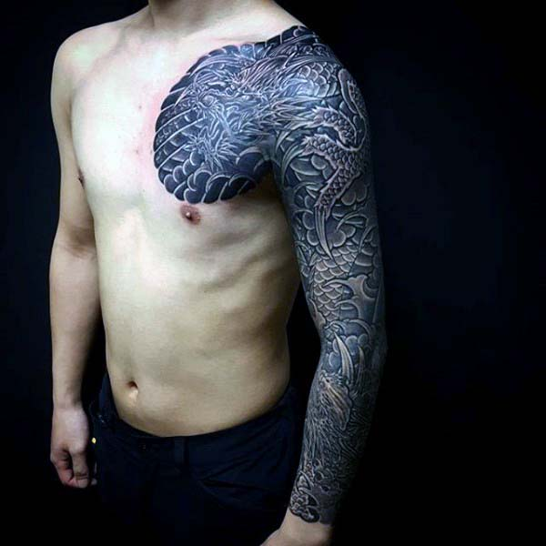 Creative Japanese Sleeve Dragon Tattoos For Guys