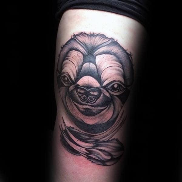 Creative Knee Sloth Guys Tattoos