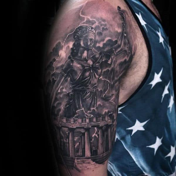 Creative Lady Justice Male Half Sleeve Tattoos