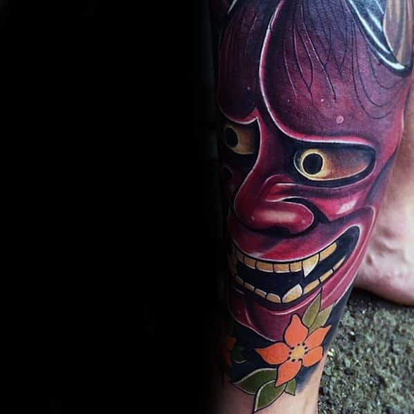 Creative Leg Sleeve Male Japanese Demon Mask Hannya Tattoo Ideas