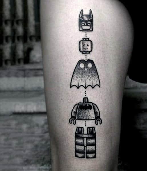 Creative Lego Themed Batman Tattoos For Guys On Thigh
