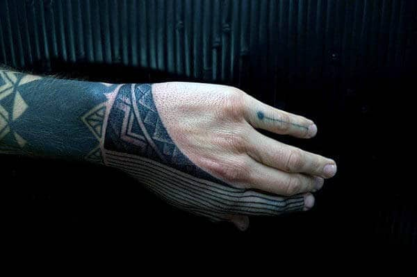 Creative Line Tribal Hand Tattoos For Males