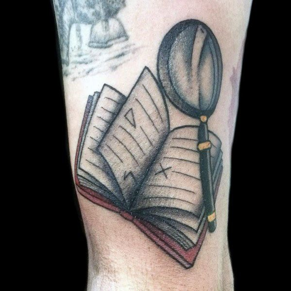 Creative Magnifying Glass Tattoos For Guys