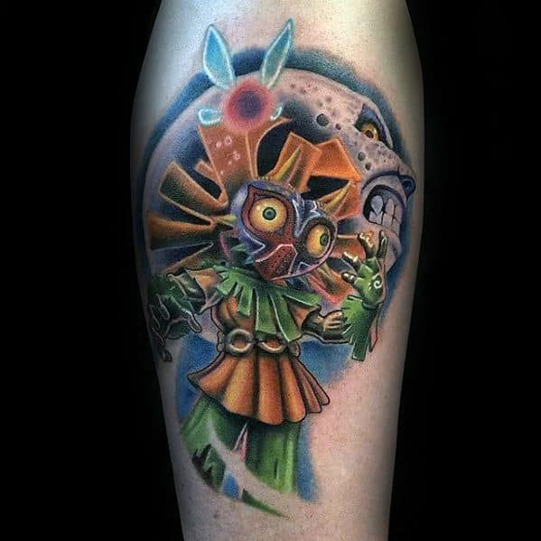 Creative Majoras Mask 3d Leg Tattoos For Men