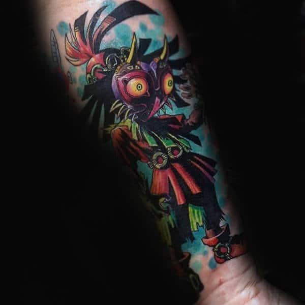 Creative Majoras Mask Forearm Guys Tattoo