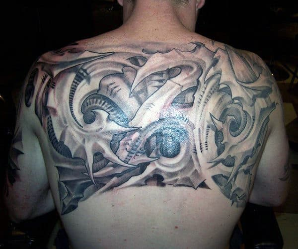 Creative Male 3d Upper Back Tattoo Ideas